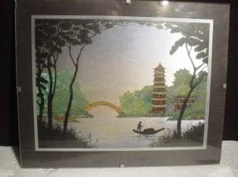 afbeelding chinese visser in pagodelandschap