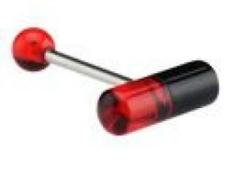 Tongpiercing  zwart/rood