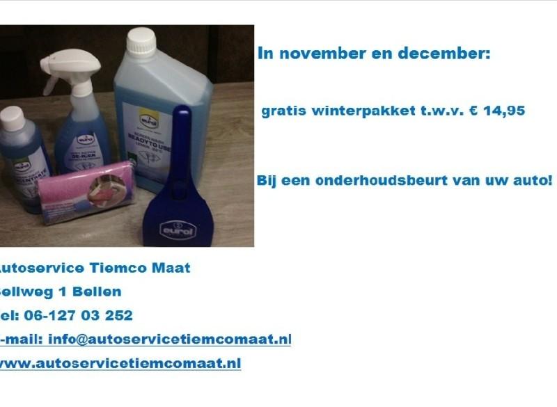 Nu gratis winterpakket twv € 14.95 bij een onderhoudsbeurt