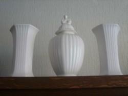 3 vazen van wit Flora Keramiek