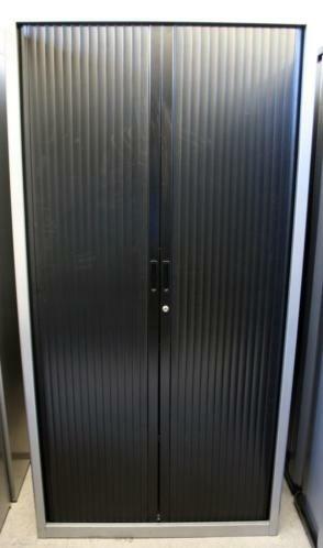 Roldeurkast Vepa zwart / aluminium 195x100x45cm
