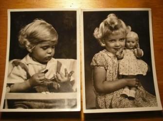 oude Ansichtkaart 1946 Kleurende peuter,(no.54)