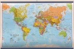 Wereldkaart Politiek geplastificeerd zonder vlaggen 136 x 8…