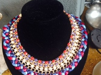 Ibiza style ketting, roze,blauw,paars