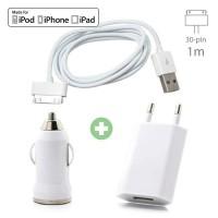 3 in 1 Oplaadset voor iPhone 30-Pin USB Oplaadkabel + Stekk…