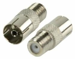 Verloop F-connector female naar IEC female