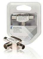 Konig Coax T-Splitter metaal 5-900Mhz