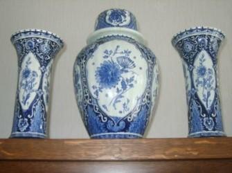 3 vazen van Delfs Blauw