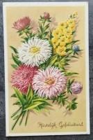 Oude felicitatiekaart - Bloemen