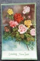 Oude nieuwjaarskaart - Bos rozen