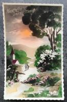 Oude felicitatiekaart -Mensen bij kerk/kasteel- jaren '30