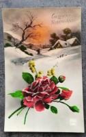 Oude nieuwjaarskaart - Bloemstukje in winters landschap