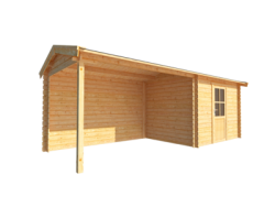 Blokhut GRASUIL 300x250 cm + 350 cm luifel aktie
