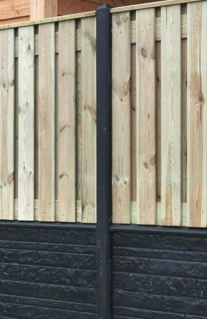 Hout-Beton rotsmotief eindpaal met diamandkop 10x10x275cm o…