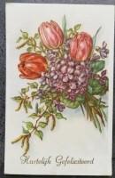 oude felicitatiekaart 3 tulpen en paarse bloemen