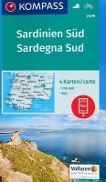 Wandelkaart Fietskaart Sardinie 2499 Sardinië Zuid 4 kaarte…