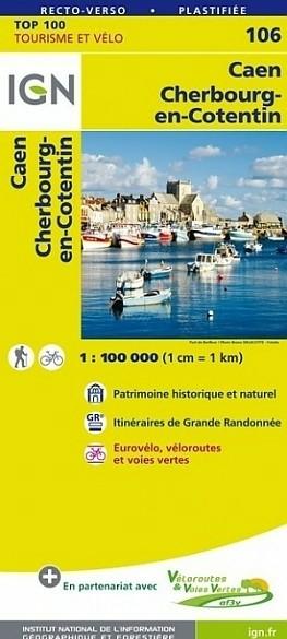 Fietskaart 106 Caen Cherbourg Octeville - IGN Top 100 - Tou…