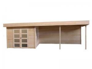 Blokhut Parelhoen 400 x 300 + 400 cm luifel