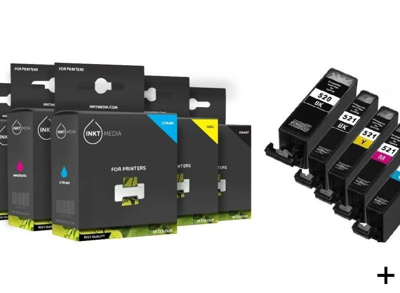 Geschikt Canon PGI-520BK Cli-521 serie met chip complete SE…