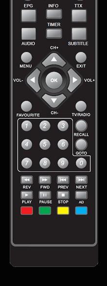 Rebox extra afstandsbediening voor RE-2400 DVBT2  ontvanger