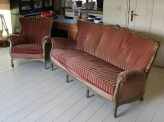 shabby biedemeier bank met fauteuil!