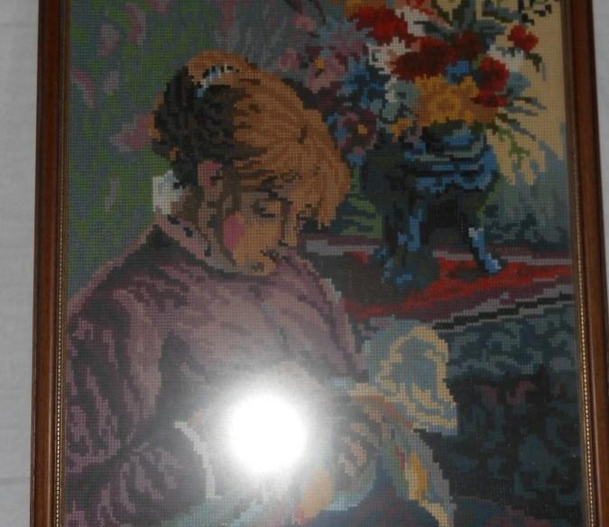 """Geborduurd schilderij """"De borduurster"""""""