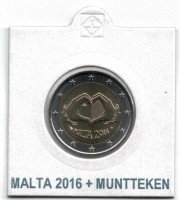 Malta 2 Euro 2016 Love met Muntteken in Munthouder