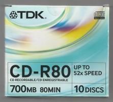 10 Discs TDK. 700 MB