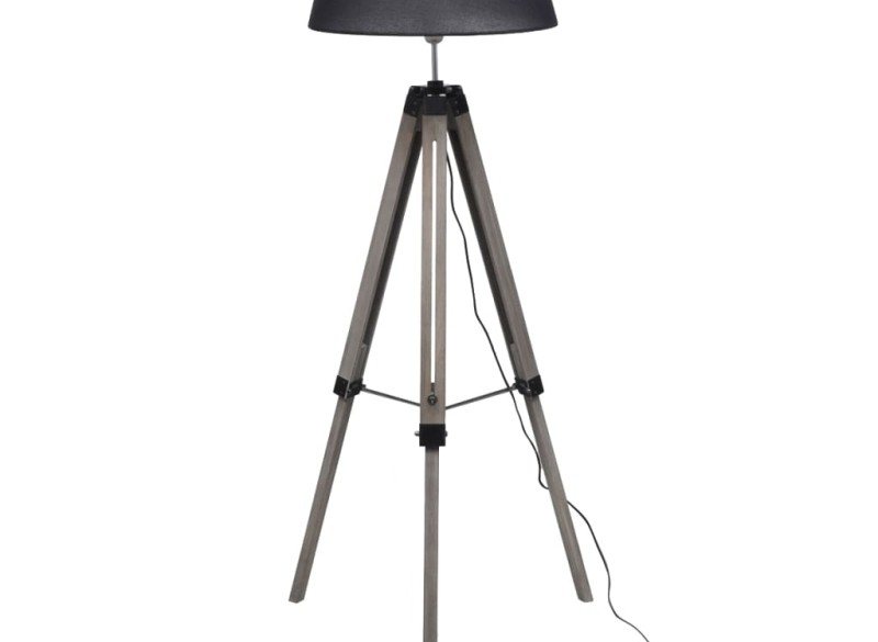Staande lamp met verstelbaar statief en stoffen kap hout zw…