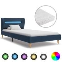 vidaXL Bed met LED en matras stof blauw 90x200 cm