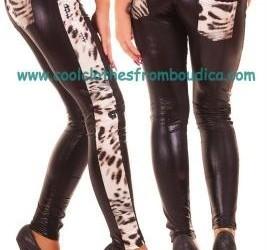 Legging lak latex look leopard tijger wit grey