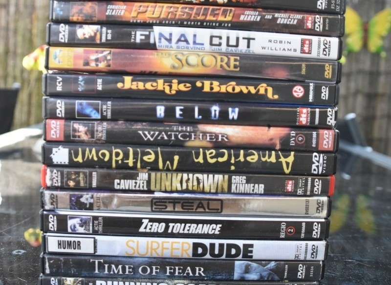 Stapel dvd's diverse.