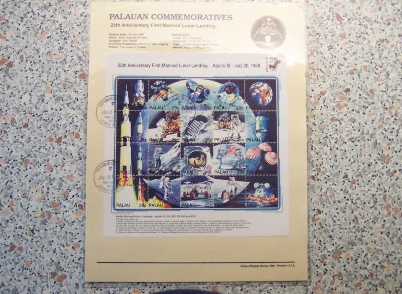 Blok Palau met beschrijving, ruimtevaart.
