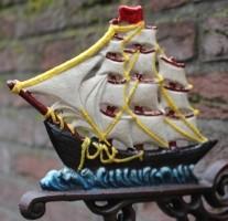 Deurbel Zeilboot, Groot, Gekleurd, Gietijzer