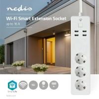 Wi-Fi Smart Stekkerdoos | 3x Schuko Type F | 4x USB | 16 A