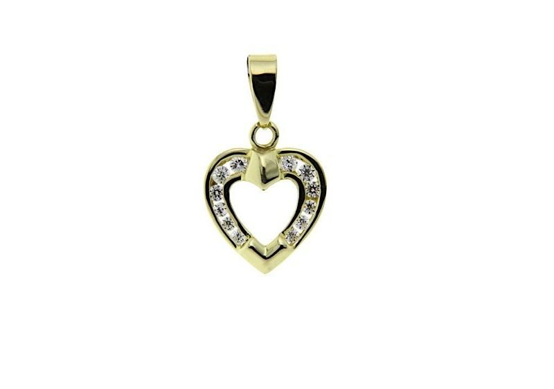 Gouden hart hanger met zirkonia 14 krt