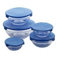 Glazen voorraadschalen inclusief gratis blauwe deksels  All…