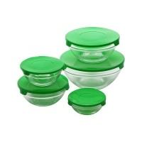 Glazen voorraadschalen inclusief gratis groene deksels  All…