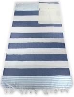 Hamam vouwtas 100% katoen voorgewassen Marine / Lichtblauw