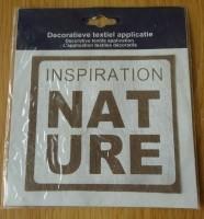"""Te koop een textielsticker met tekst: """"Inspiration Nature""""."""