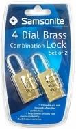 Samsonite 4 Dial Brass Travel Combination Lock - Twin Pack