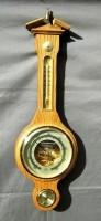 Klass.Banjo Baro-/hygro-/ thermometer,eiken,nst.,55 cm,zgan