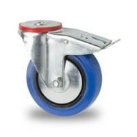 Zwenkwiel blauw 125 x 36 mm met rem vzv boutgat bevestiging