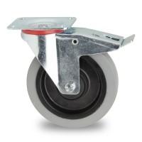 Zwenkwiel met rem grijs 200 x 45 mm plaatbevestiging