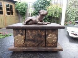 Stafford terrier beeldje met of zonder vleugels incl. urn