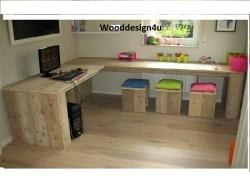 Hoekbureau van steigerhoutwooddesign4u