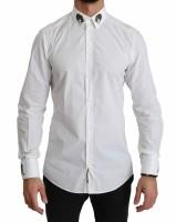 Dolce & Gabbana White GOLD Leopard Cuff Collar Cotton Shirt…