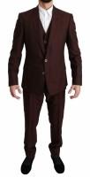 Dolce & Gabbana Maroon Brocade 3 Piece Wool MARTINI Suit IT…
