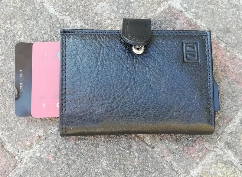 creditkaart houder metvak kleingeld en papiergeld leer