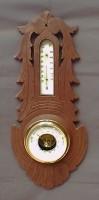 Jugendstil baro-/kwikthermeter, 1910, snijw,hout,gst,47 cm